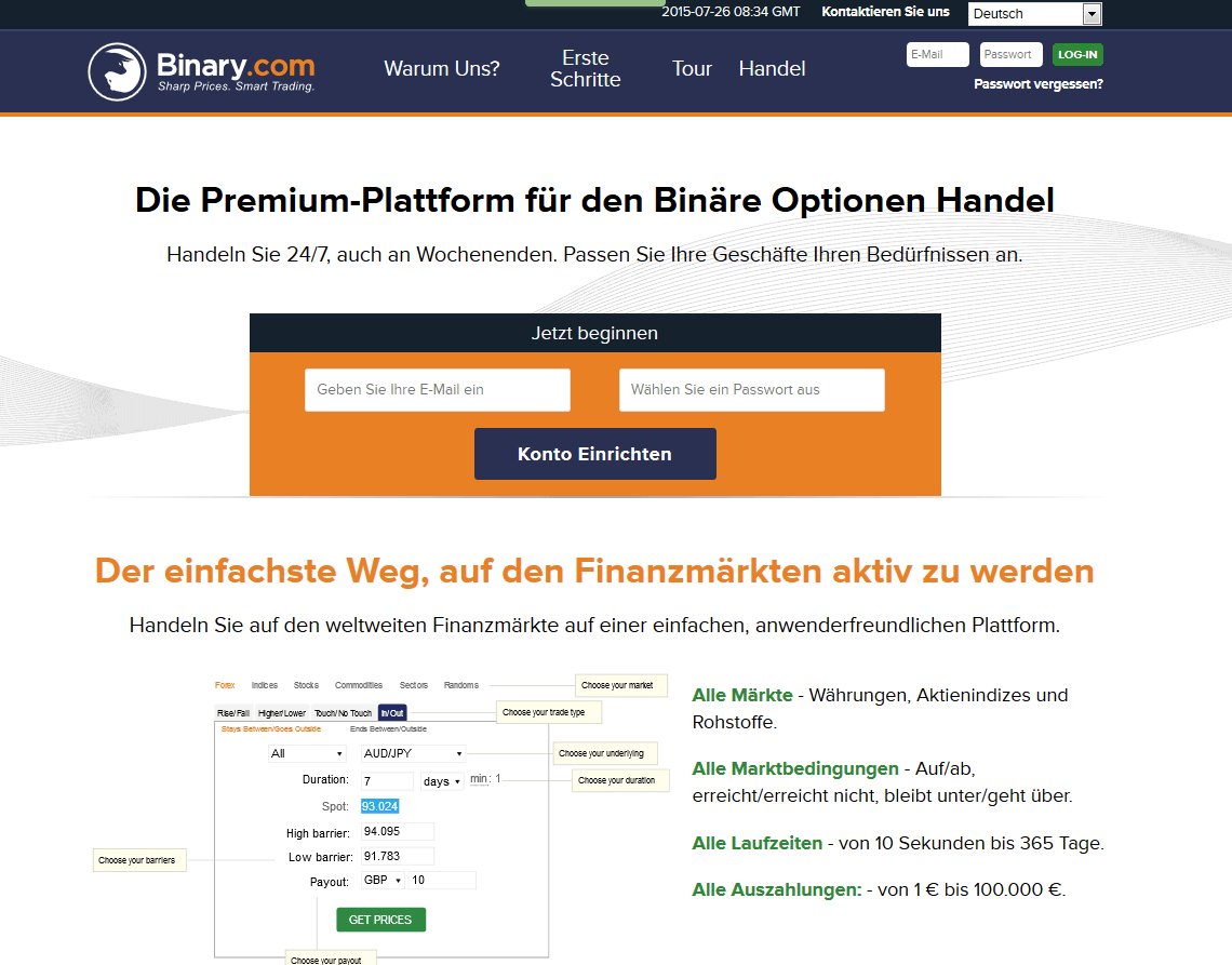 Binary.com Webseite